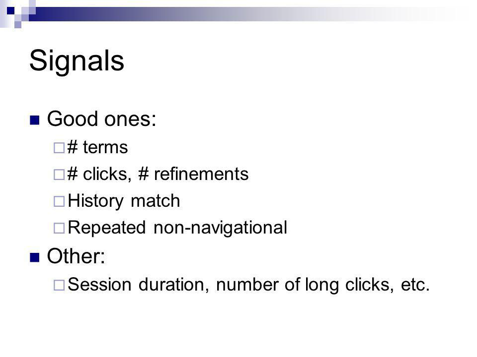 Signals Good ones: # terms # clicks, # refinements History match Repeated non-navigational Other: Session duration, number of long clicks, etc.