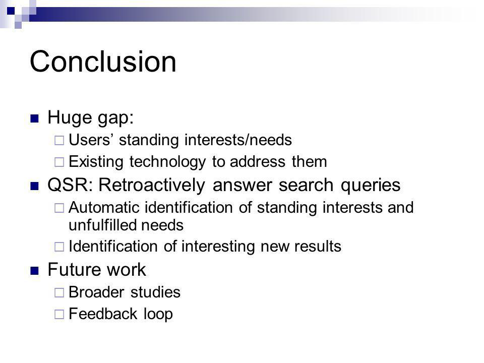 Conclusion Huge gap: Users standing interests/needs Existing technology to address them QSR: Retroactively answer search queries Automatic identificat