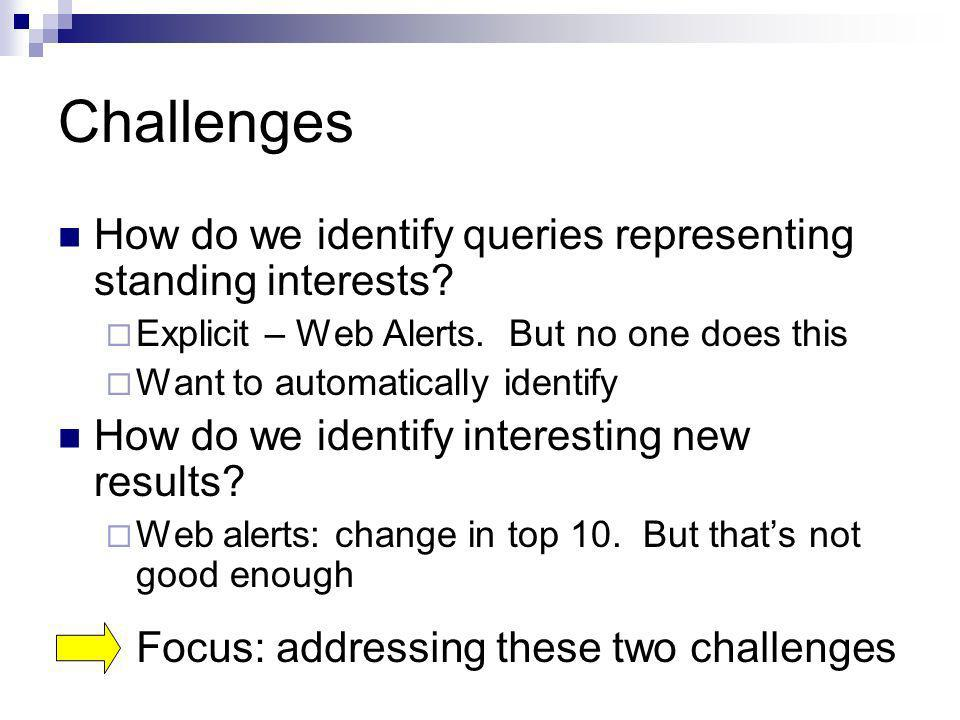 Challenges How do we identify queries representing standing interests? Explicit – Web Alerts. But no one does this Want to automatically identify How