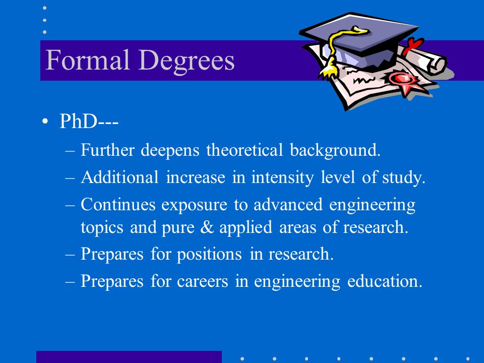 Formal Degrees PhD--- –Further deepens theoretical background.