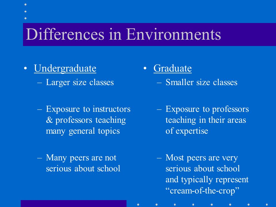 Differences in Environments Undergraduate –Larger size classes –Exposure to instructors & professors teaching many general topics –Many peers are not serious about school Graduate –Smaller size classes –Exposure to professors teaching in their areas of expertise –Most peers are very serious about school and typically represent cream-of-the-crop