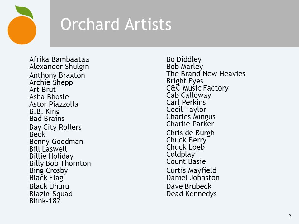 3 Orchard Artists Afrika Bambaataa Alexander Shulgin Anthony Braxton Archie Shepp Art Brut Asha Bhosle Astor Piazzolla B.B. King Bad Brains Bay City R