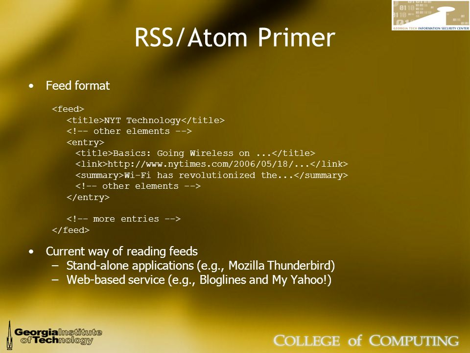 RSS/Atom Primer Feed format NYT Technology Basics: Going Wireless on...