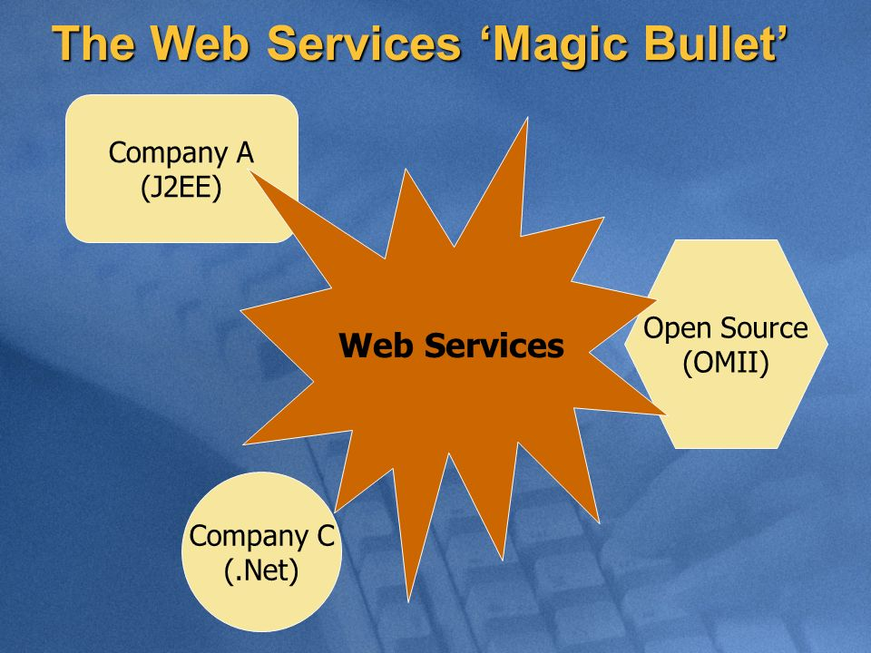 The Web Services Magic Bullet Company A (J2EE) Open Source (OMII) Company C (.Net) Web Services