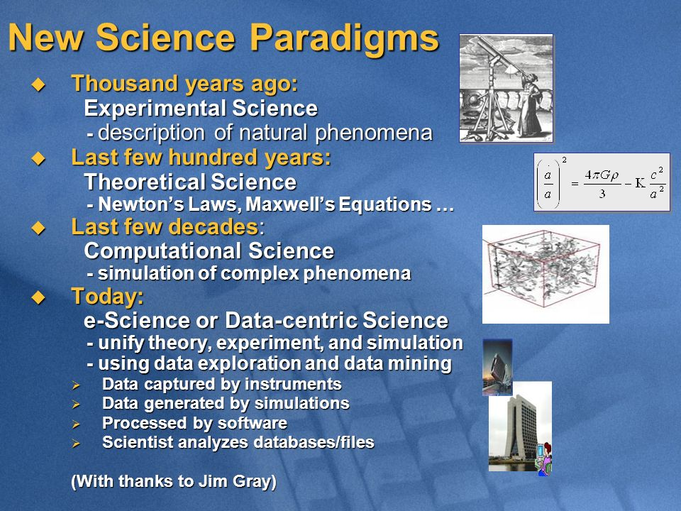 New Science Paradigms Thousand years ago: Experimental Science Thousand years ago: Experimental Science - description of natural phenomena - descripti