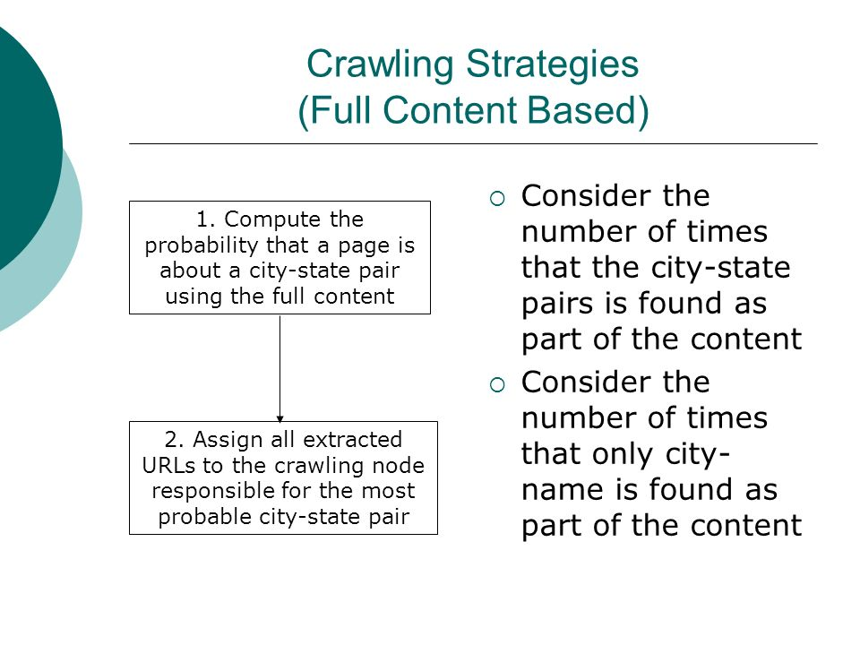 Crawling Strategies (Full Content Based) Consider the number of times that the city-state pairs is found as part of the content Consider the number of times that only city- name is found as part of the content 1.