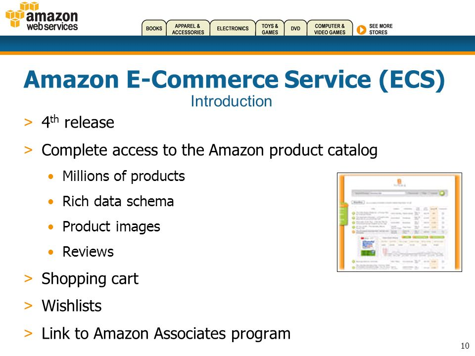10 Amazon E-Commerce Service (ECS) > 4 th release > Complete access to the Amazon product catalog Millions of products Rich data schema Product images Reviews > Shopping cart > Wishlists > Link to Amazon Associates program Introduction