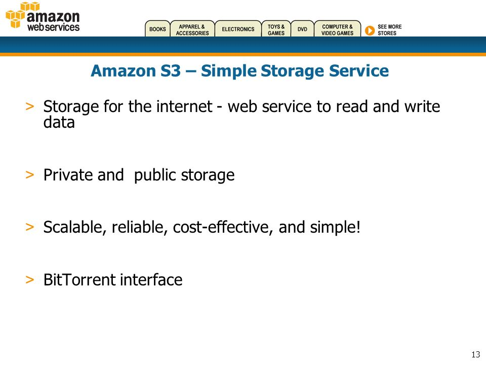 13 Amazon S3 – Simple Storage Service > Storage for the internet - web service to read and write data > Private and public storage > Scalable, reliable, cost-effective, and simple.