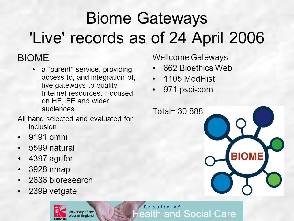Biome Gateways 'Live' records as of 24 April 2006 BIOME a parent service, providing access to, and integration of, five gateways to quality Internet r