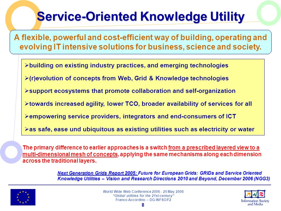 World Wide Web Conference 2006 - 25 May 2006 Global utilities for the 21st century Franco Accordino – DG INFSO/F2 8 building on existing industry practices, and emerging technologies (r)evolution of concepts from Web, Grid & Knowledge technologies support ecosystems that promote collaboration and self-organization towards increased agility, lower TCO, broader availability of services for all empowering service providers, integrators and end-consumers of ICT as safe, ease und ubiquitous as existing utilities such as electricity or water A flexible, powerful and cost-efficient way of building, operating and evolving IT intensive solutions for business, science and society.