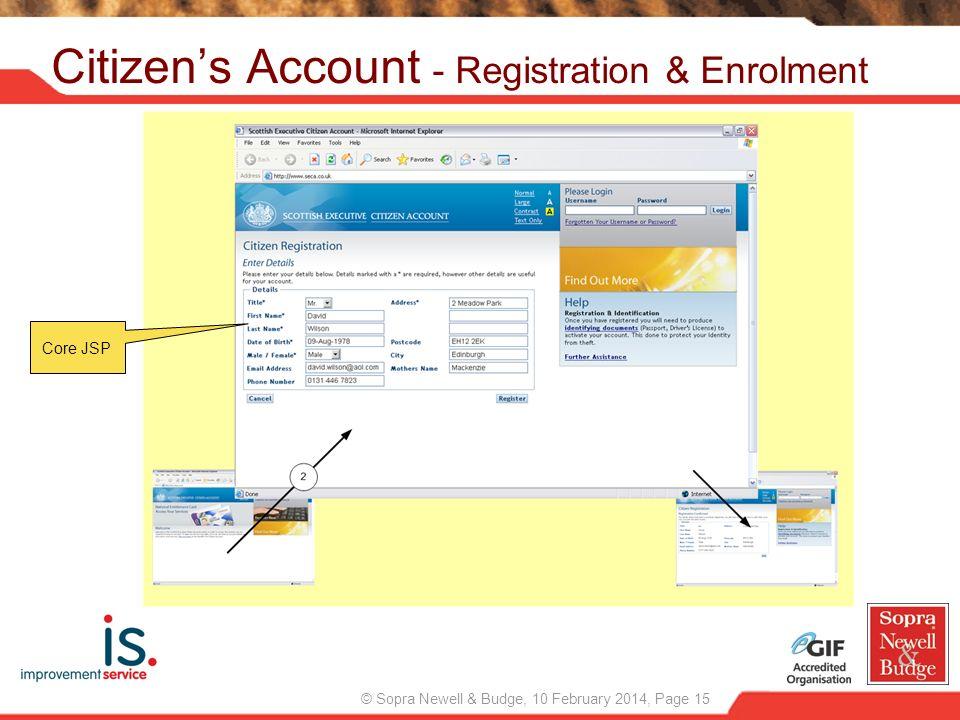 © Sopra Newell & Budge, 10 February 2014, Page 15 Citizens Account - Registration & Enrolment Core JSP