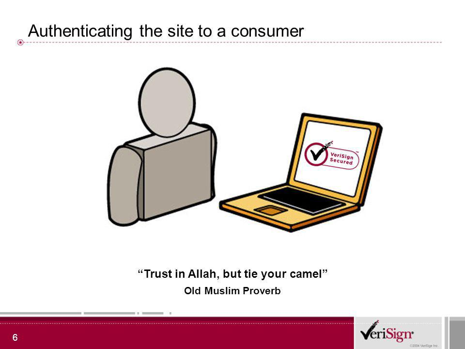 6 Authenticating the site to a consumer Trust in Allah, but tie your camel Old Muslim Proverb