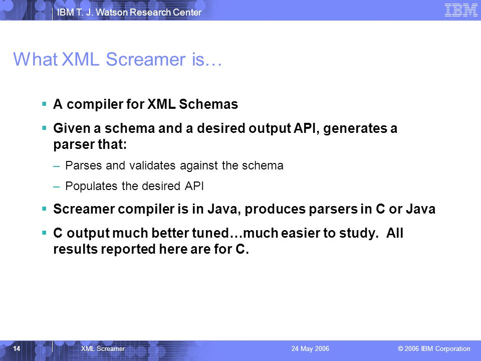 IBM T. J. Watson Research Center © 2006 IBM Corporation 14XML Screamer24 May 2006 What XML Screamer is… A compiler for XML Schemas Given a schema and