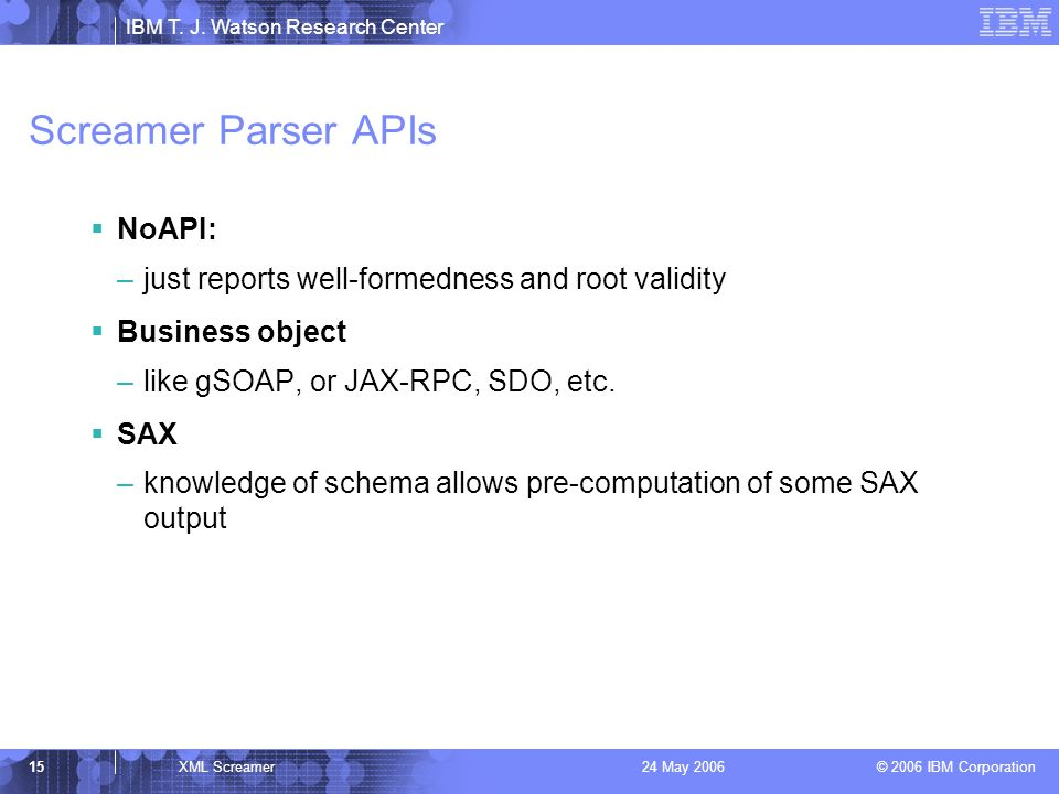 IBM T. J. Watson Research Center © 2006 IBM Corporation 15XML Screamer24 May 2006 Screamer Parser APIs NoAPI: –just reports well-formedness and root v