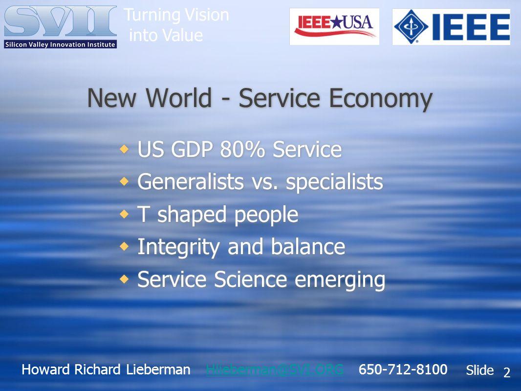 Howard Richard Lieberman Hlieberman@SVI.ORG 650-712-8100Hlieberman@SVI.ORG Slide Turning Vision into Value 2 New World - Service Economy US GDP 80% Service Generalists vs.