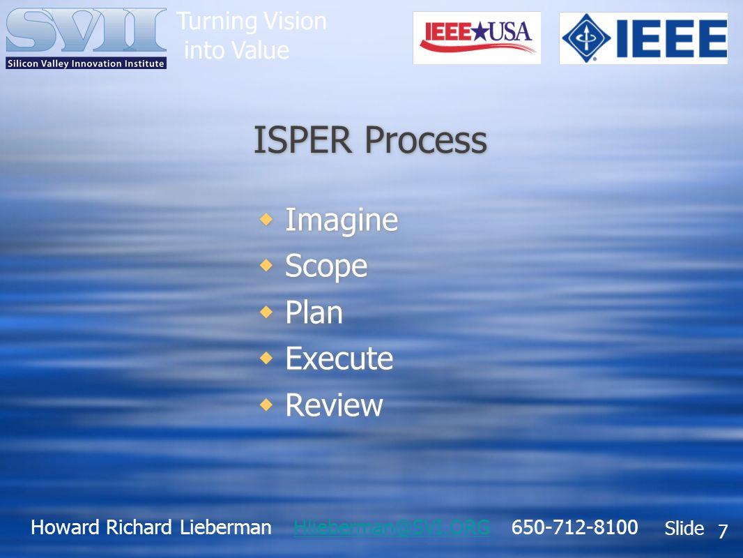 Howard Richard Lieberman Hlieberman@SVI.ORG 650-712-8100Hlieberman@SVI.ORG Slide Turning Vision into Value 7 ISPER Process Imagine Scope Plan Execute Review Imagine Scope Plan Execute Review