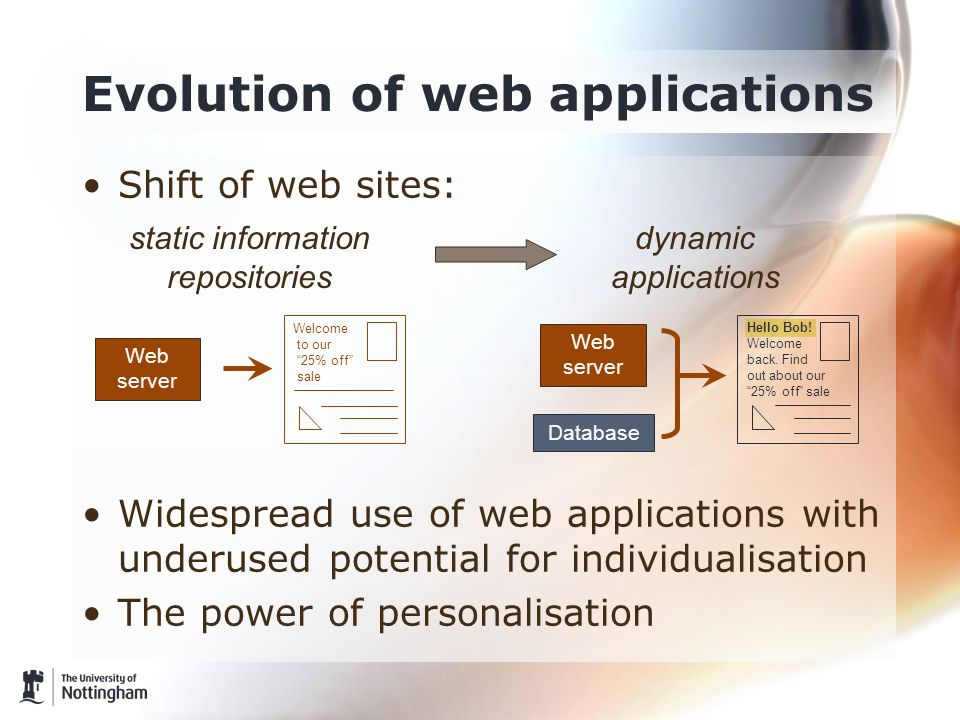 Shift of web sites: Widespread use of web applications with underused potential for individualisation The power of personalisation Evolution of web ap