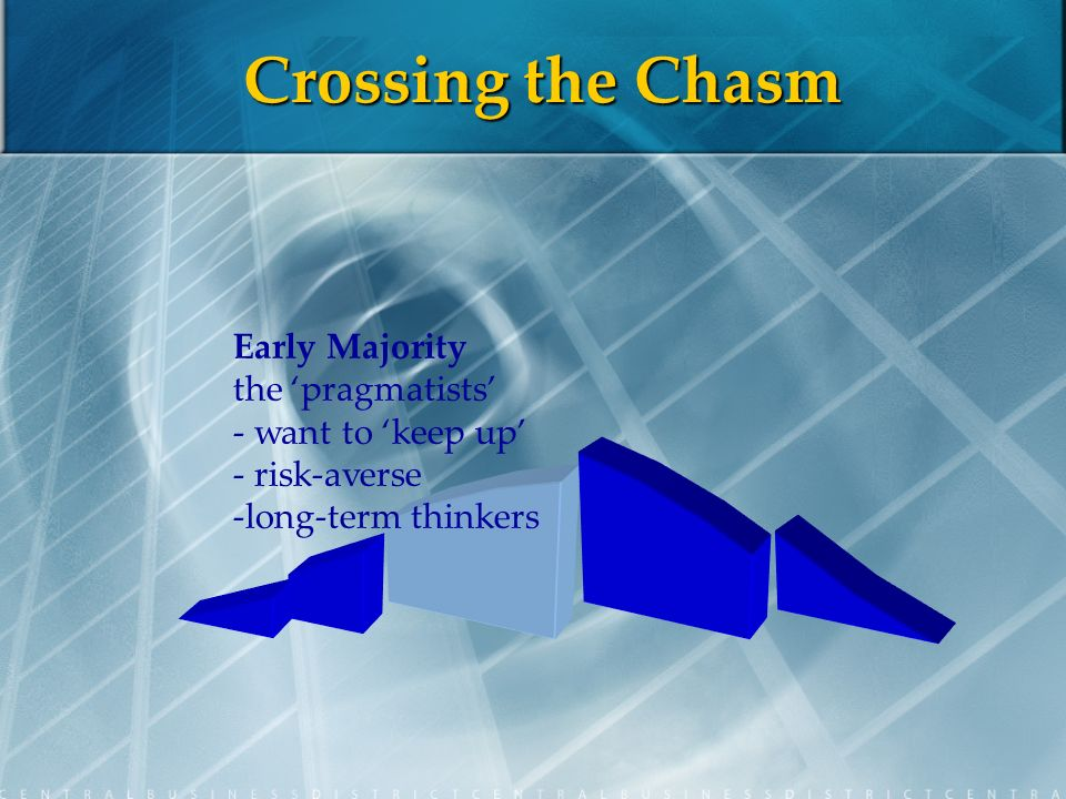 Crossing the Chasm Early Majority the pragmatists - want to keep up - risk-averse -long-term thinkers