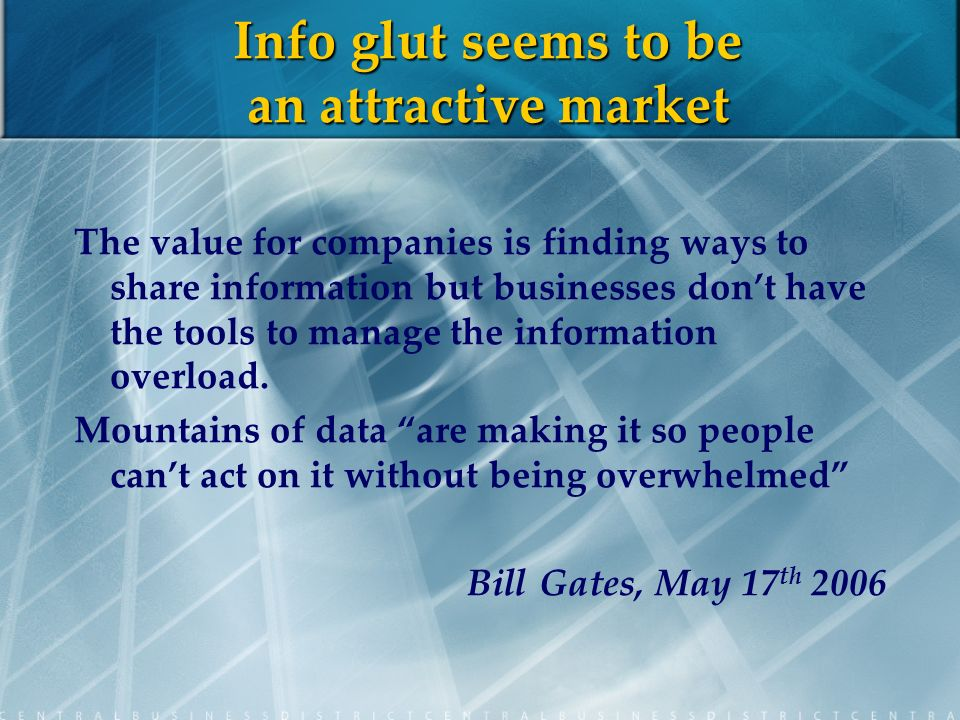 Info glut seems to be an attractive market The value for companies is finding ways to share information but businesses dont have the tools to manage the information overload.