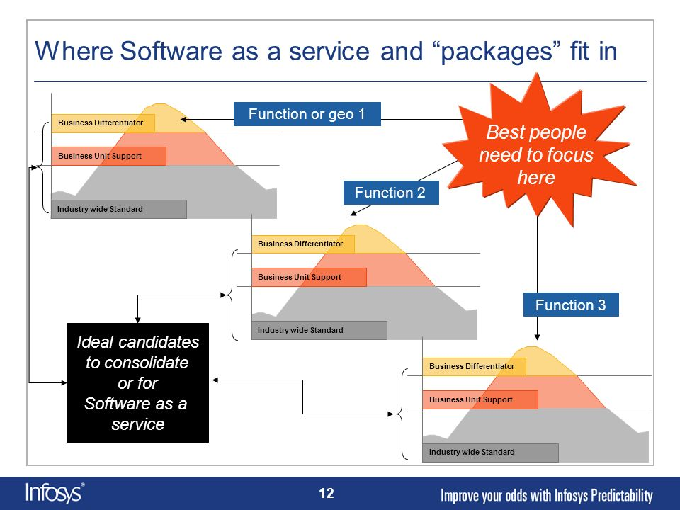 12 Where Software as a service and packages fit in Industry wide Standard Business Unit Support Business Differentiator Industry wide Standard Busines