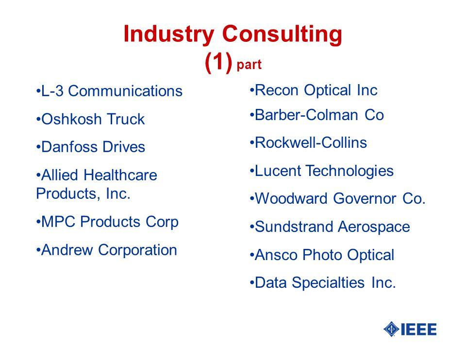 Industry Consulting (part 2) l Honeywell l Northrop Electromechanical l TRE Electromask l System Technika l Pertec Corp l Micropolis Corp.