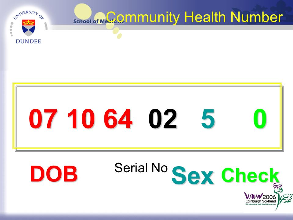 Community Health Number DOB Sex Sex Check 07 10 64 02 5 0 07 10 64 02 5 0 Serial No
