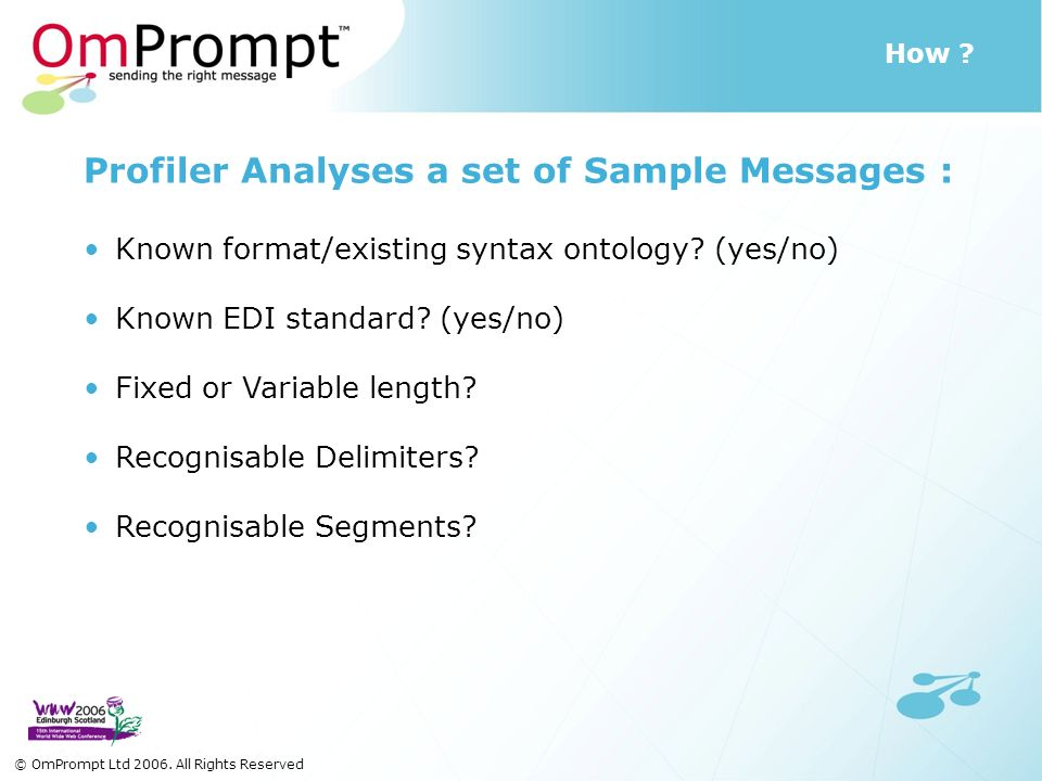 How ? © OmPrompt Ltd 2006. All Rights Reserved Profiler Analyses a set of Sample Messages : Known format/existing syntax ontology? (yes/no) Known EDI