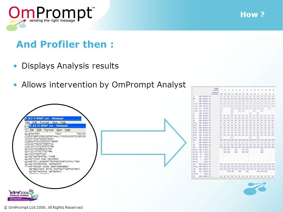 How ? And Profiler then : Displays Analysis results Allows intervention by OmPrompt Analyst © OmPrompt Ltd 2006. All Rights Reserved