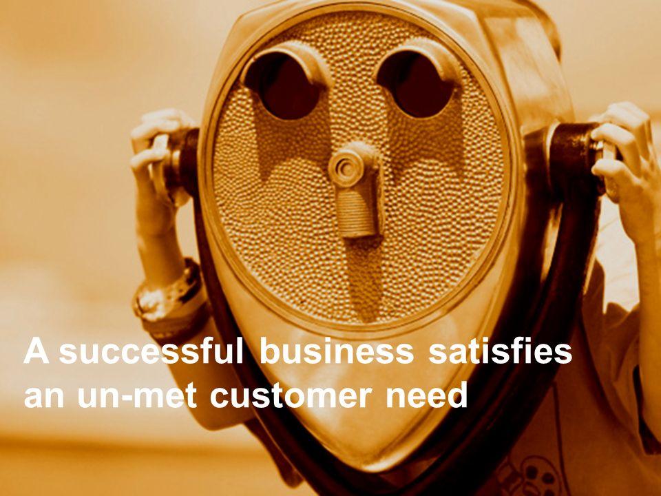 A successful business satisfies an un-met customer need