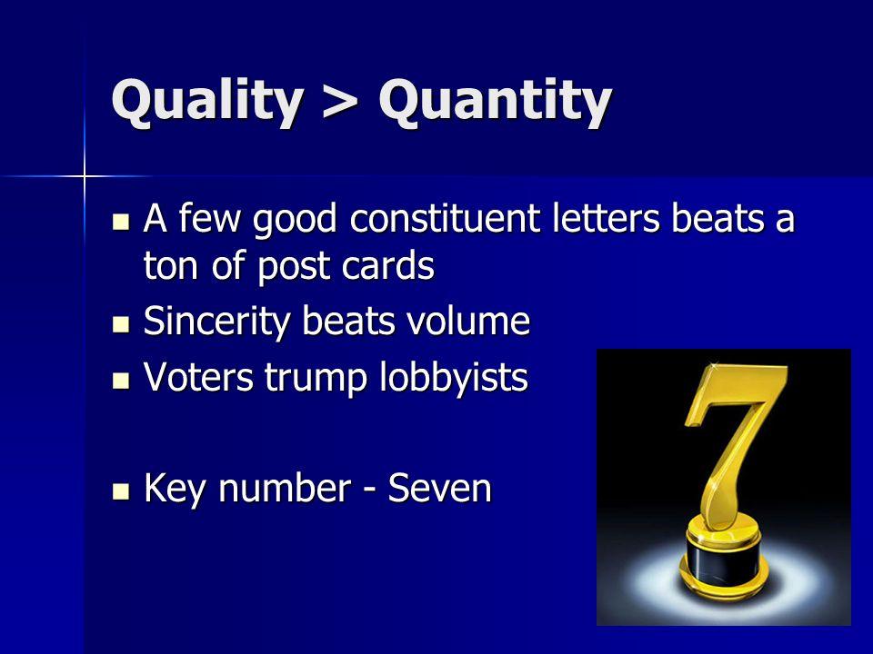 Quality > Quantity A few good constituent letters beats a ton of post cards A few good constituent letters beats a ton of post cards Sincerity beats v