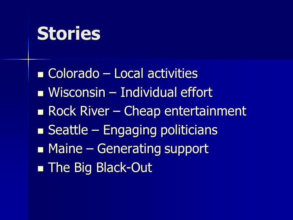 Stories Colorado – Local activities Colorado – Local activities Wisconsin – Individual effort Wisconsin – Individual effort Rock River – Cheap enterta