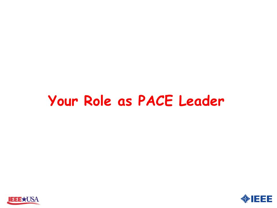 Your Role as PACE Leader