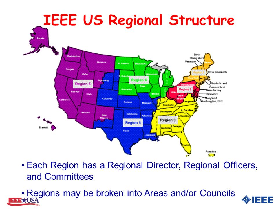 IEEE US Regional Structure Each Region has a Regional Director, Regional Officers, and Committees Regions may be broken into Areas and/or Councils