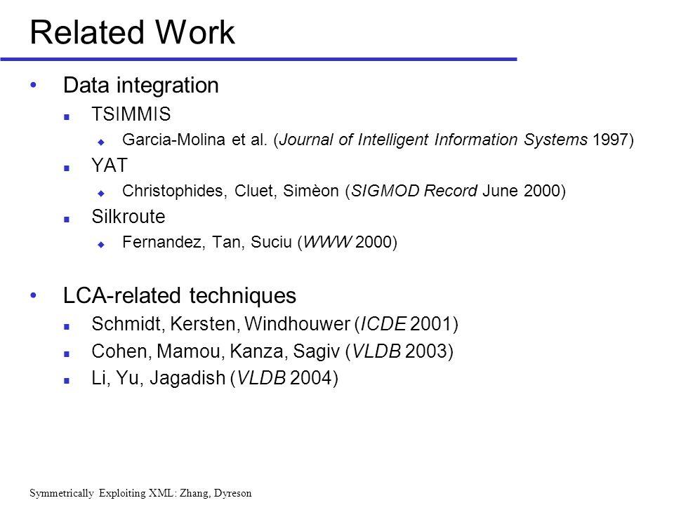 Symmetrically Exploiting XML: Zhang, Dyreson Related Work Data integration TSIMMIS Garcia-Molina et al. (Journal of Intelligent Information Systems 19