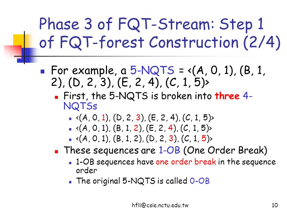 hfli@csie.nctu.edu.tw10 Phase 3 of FQT-Stream: Step 1 of FQT-forest Construction (2/4) For example, a 5-NQTS = First, the 5-NQTS is broken into three 4- NQTSs These sequences are 1-OB (One Order Break) 1-OB sequences have one order break in the sequence order The original 5-NQTS is called 0-OB