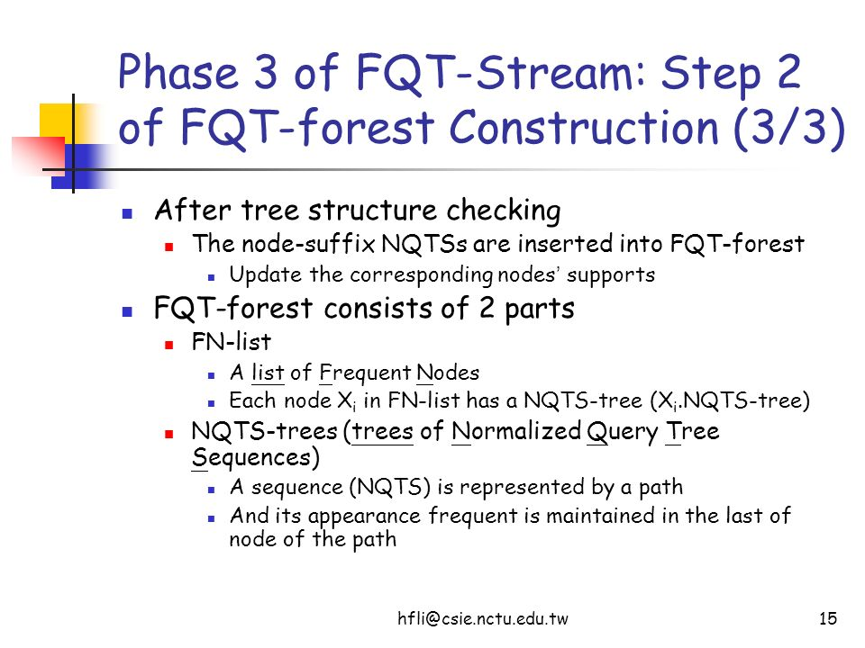 hfli@csie.nctu.edu.tw15 Phase 3 of FQT-Stream: Step 2 of FQT-forest Construction (3/3) After tree structure checking The node-suffix NQTSs are inserte