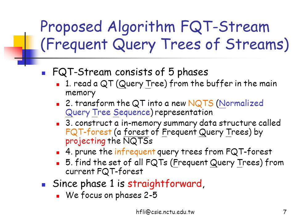 hfli@csie.nctu.edu.tw18 Conclusions and Future Work We propose an efficient one-pass algorithm FQT-Stream (Frequent Query Trees of Streams) To find the set of all frequent query trees over the entire history of online XML data streams Future Work Online Mining of Frequent Query Trees over Sliding Windows