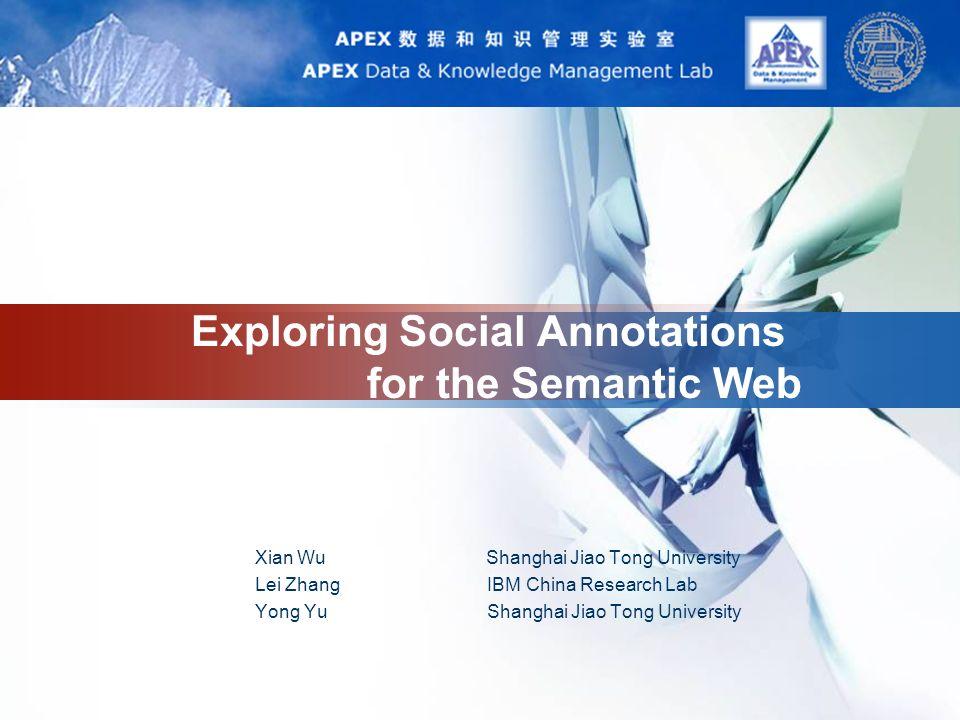 LOGO Exploring Social Annotations for the Semantic Web Xian Wu Shanghai Jiao Tong University Lei Zhang IBM China Research Lab Yong Yu Shanghai Jiao Tong University