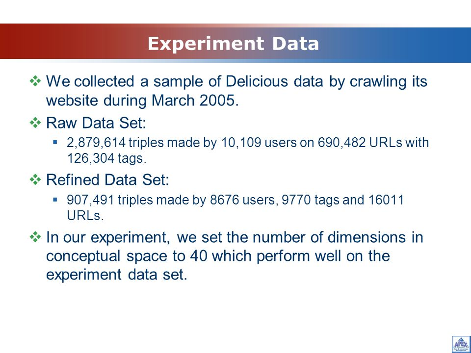 Experiment Data We collected a sample of Delicious data by crawling its website during March 2005.
