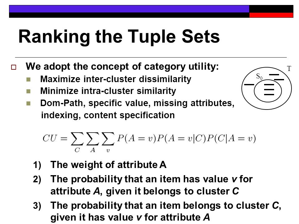 Ranking the Tuple Sets We adopt the concept of category utility: Maximize inter-cluster dissimilarity Minimize intra-cluster similarity Dom-Path, specific value, missing attributes, indexing, content specification 1) The weight of attribute A 2) The probability that an item has value v for attribute A, given it belongs to cluster C 3) The probability that an item belongs to cluster C, given it has value v for attribute A S0S0 T