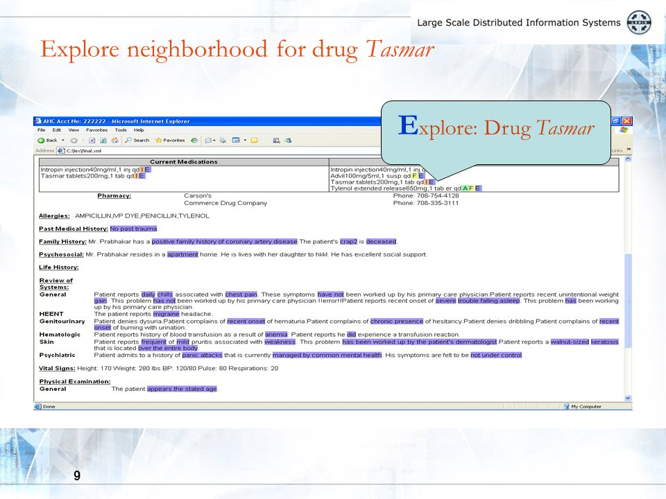 9 Explore neighborhood for drug Tasmar E xplore: Drug Tasmar