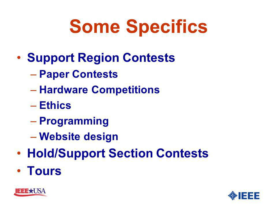 Some Specifics Support Region Contests –Paper Contests –Hardware Competitions –Ethics –Programming –Website design Hold/Support Section Contests Tours