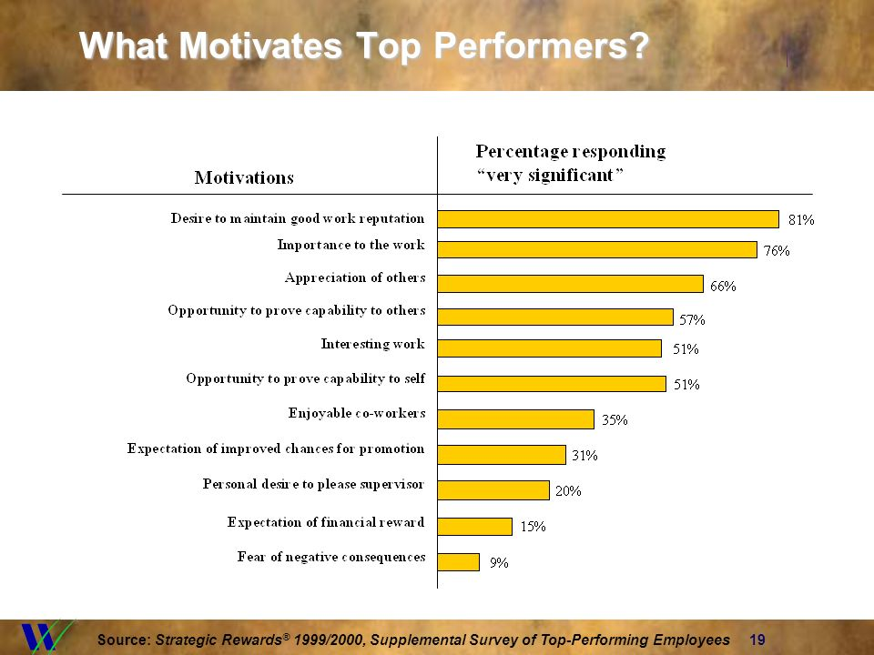 19 What Motivates Top Performers? Source: Strategic Rewards ® 1999/2000, Supplemental Survey of Top-Performing Employees