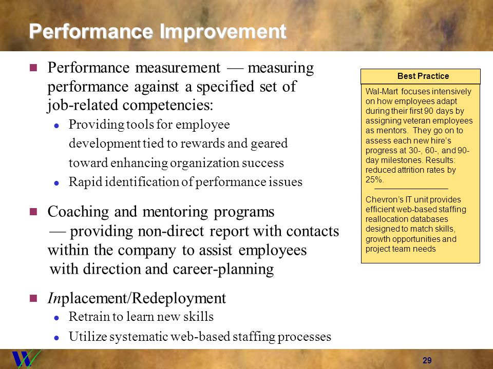 29 Performance Improvement Performance measurement measuring performance against a specified set of job-related competencies: Providing tools for empl