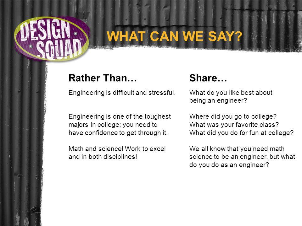 WHAT CAN WE SAY? Rather Than… Share… Engineering is difficult and stressful.What do you like best about being an engineer? Engineering is one of the t