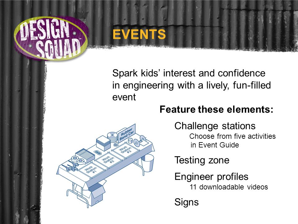 EVENTS Spark kids interest and confidence in engineering with a lively, fun-filled event Feature these elements: Challenge stations Choose from five a