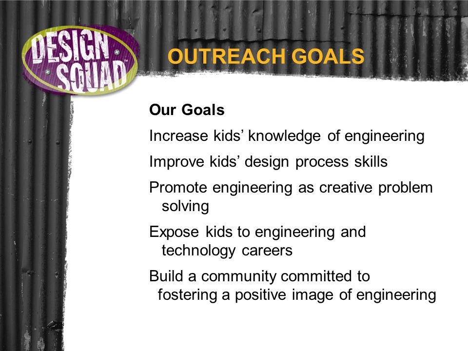 OUTREACH GOALS Our Goals Increase kids knowledge of engineering Improve kids design process skills Promote engineering as creative problem solving Exp