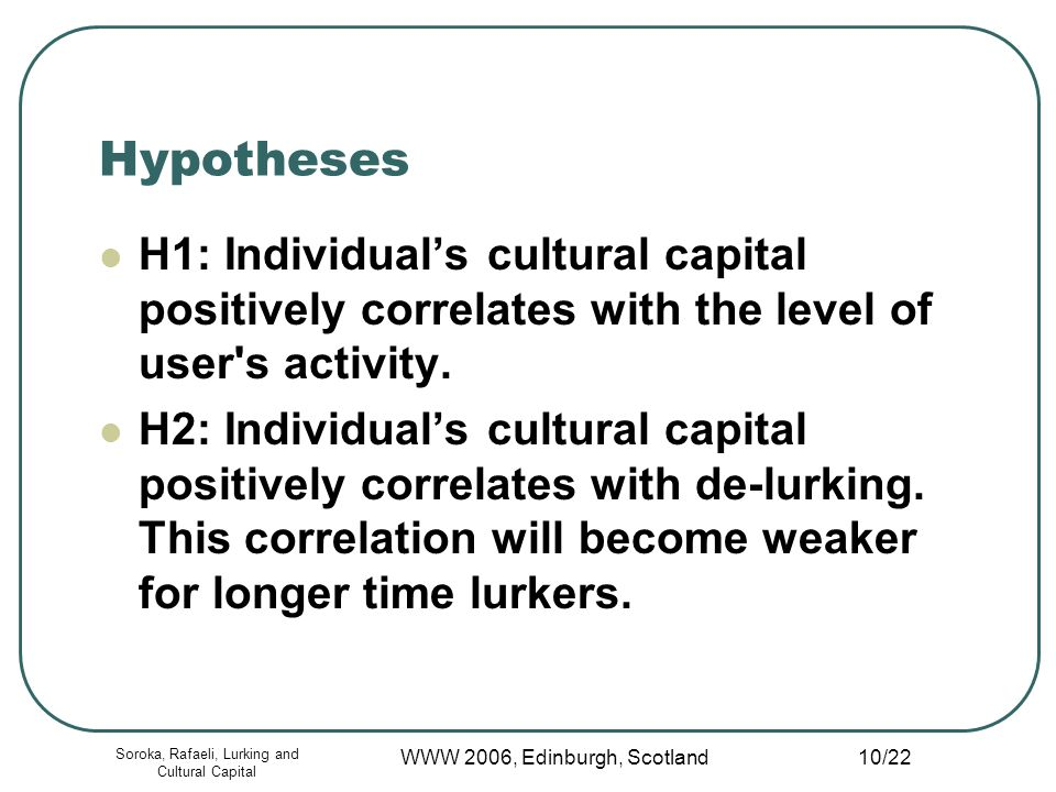 Soroka, Rafaeli, Lurking and Cultural Capital WWW 2006, Edinburgh, Scotland 10/22 Hypotheses H1: Individuals cultural capital positively correlates with the level of user s activity.
