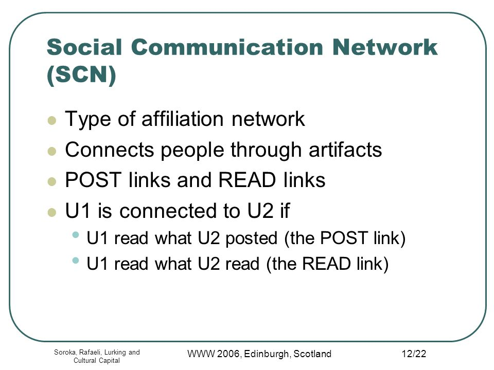 Soroka, Rafaeli, Lurking and Cultural Capital WWW 2006, Edinburgh, Scotland 12/22 Social Communication Network (SCN) Type of affiliation network Connects people through artifacts POST links and READ links U1 is connected to U2 if U1 read what U2 posted (the POST link) U1 read what U2 read (the READ link)