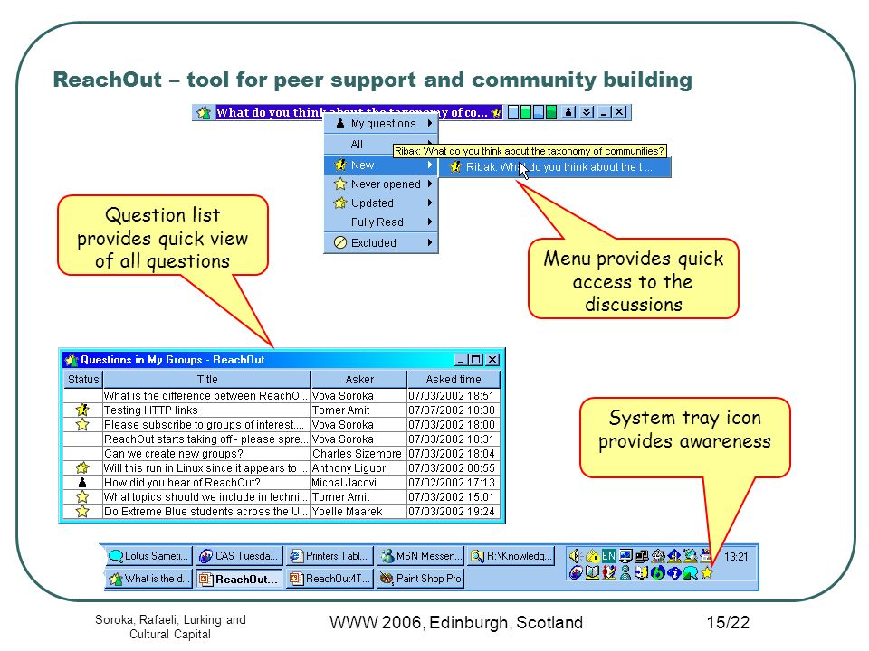 Soroka, Rafaeli, Lurking and Cultural Capital WWW 2006, Edinburgh, Scotland 15/22 ReachOut – tool for peer support and community building Menu provides quick access to the discussions Question list provides quick view of all questions System tray icon provides awareness